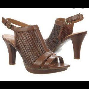 Naturalized Dania brown dress sandal saddle tan